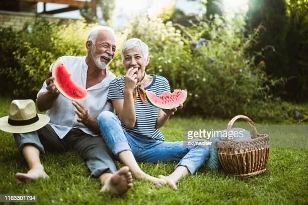 vrolijk senior paar met plezier terwijl het eten van watermeloen in de achtertuin. - picknick stockfoto's en -beelden