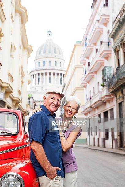 Cheerful senior couple on vacations