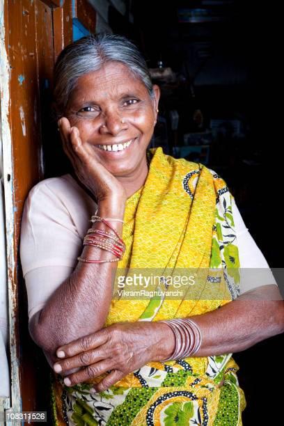 Cheerful Senior Indian Woman Vertical Portrait