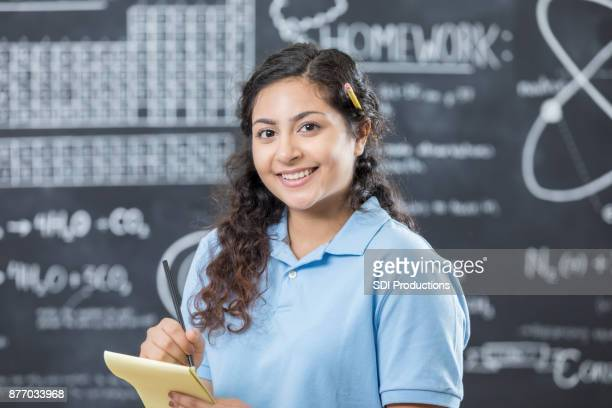 cheerful stem high school student - indian college girls stock photos and pictures
