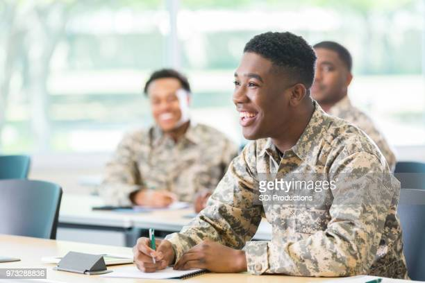 cheerful student in military academy - military stock pictures, royalty-free photos & images