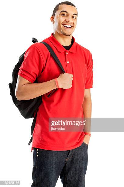Cheerful Student with Book Bag