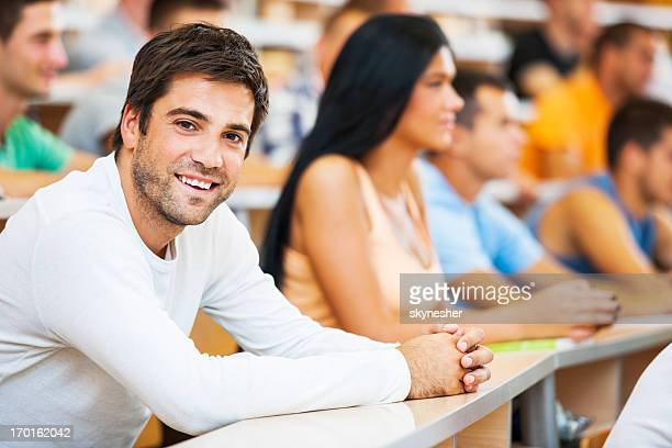 Cheerful students at lecture hall