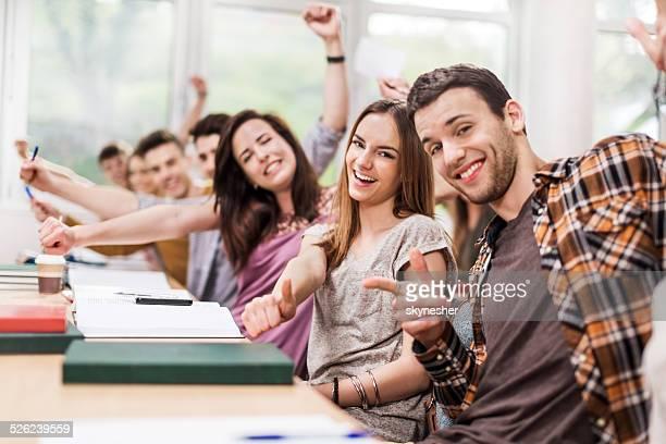 Cheerful students.