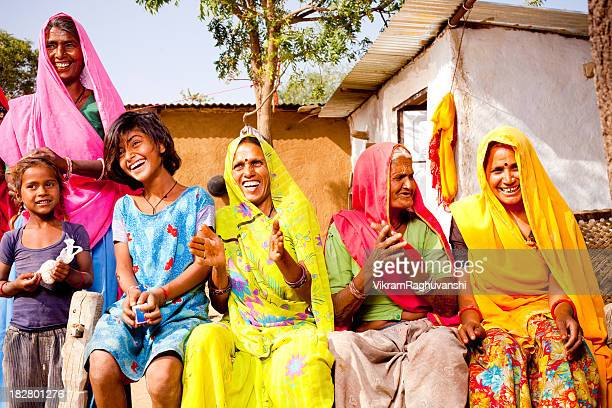 Cheerful Traditional Rural Indian Family of Rajasthan