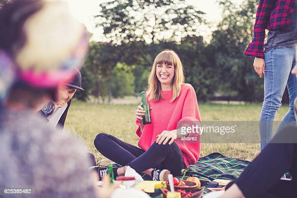 Cheerful woman enjoying a day with friends