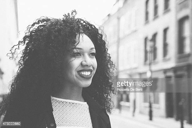 Cheerful Woman Portrait In A City Street