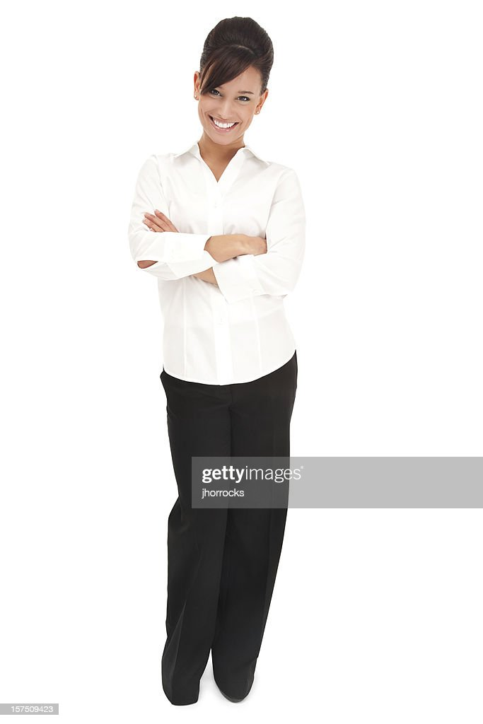 Cheerful Young Businesswoman in White : Stock Photo