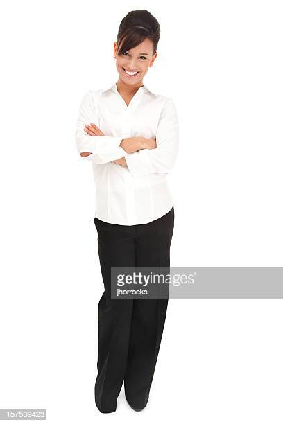 cheerful young businesswoman in white - black trousers stock pictures, royalty-free photos & images