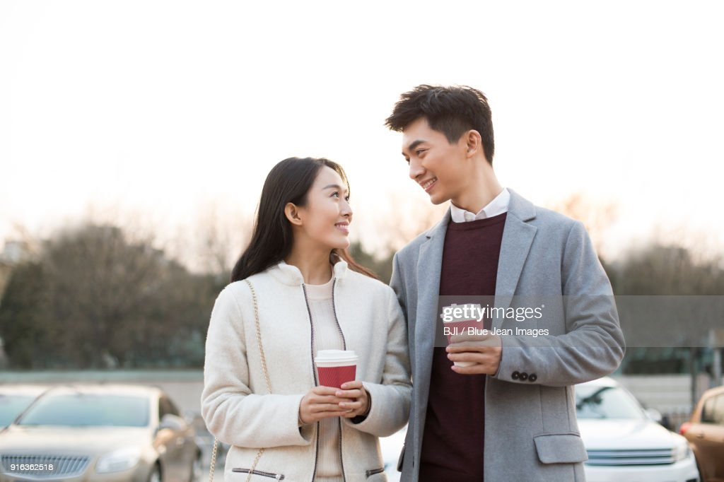 Cheerful young couple dating : Stock Photo