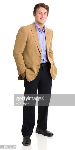 cheerful young man standing alone - blazer jacket stock pictures, royalty-free photos & images