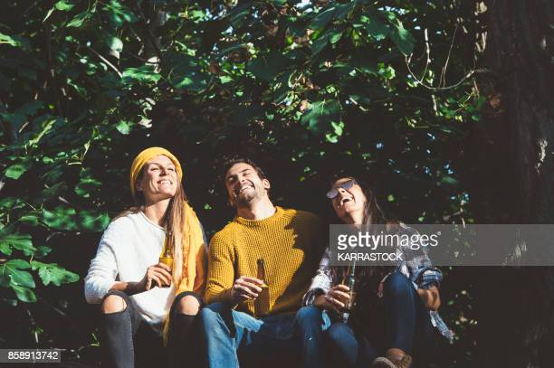 cheerful young people relaxing on outdoor with beer. - amizade imagens e fotografias de stock