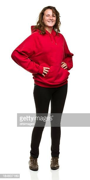 cheerful young woman standing portrait - black trousers stock pictures, royalty-free photos & images