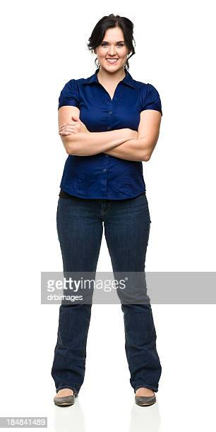 Cheerful Young Woman Standing With Arms Crossed