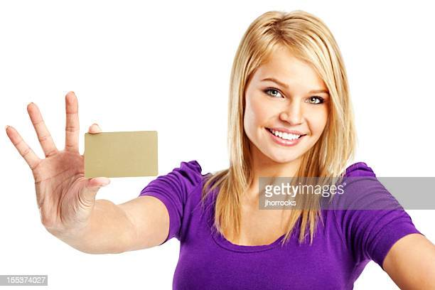 Cheerful Young Woman with Blank Gold Credit Card