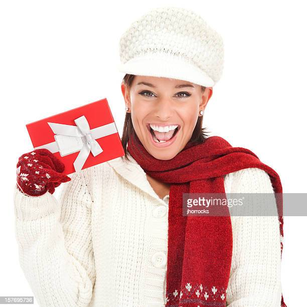 Cheerful Young Woman with Christmas Gift Box
