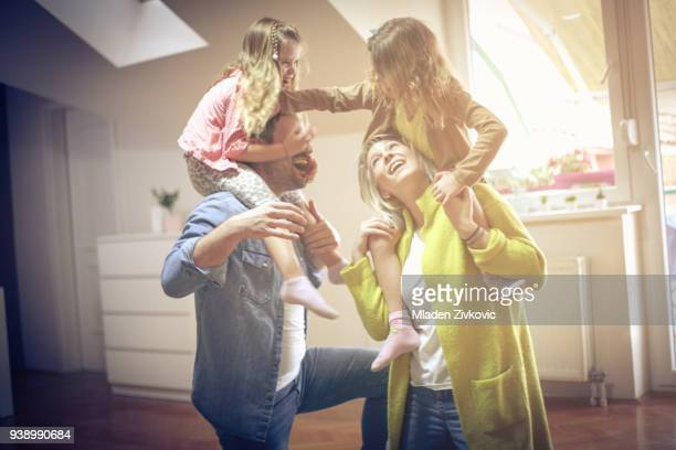 cheerfully and happy. - family at home stock photos and pictures