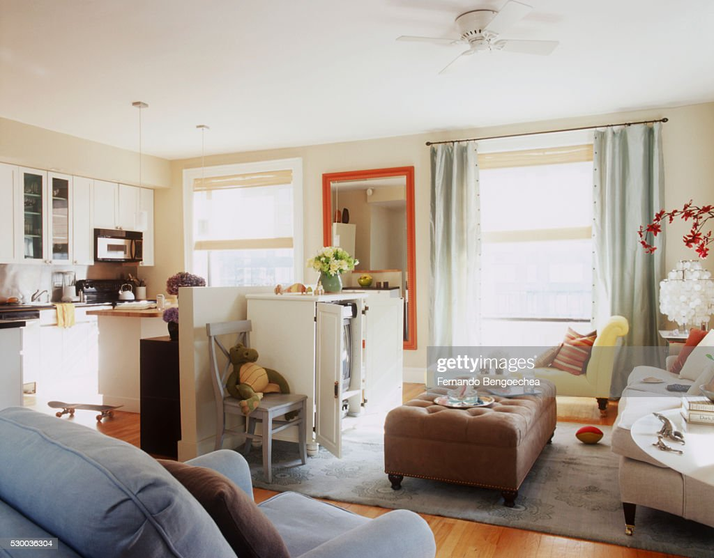 A Cheerfully Contemporary Living Room Stock-Foto - Getty Images