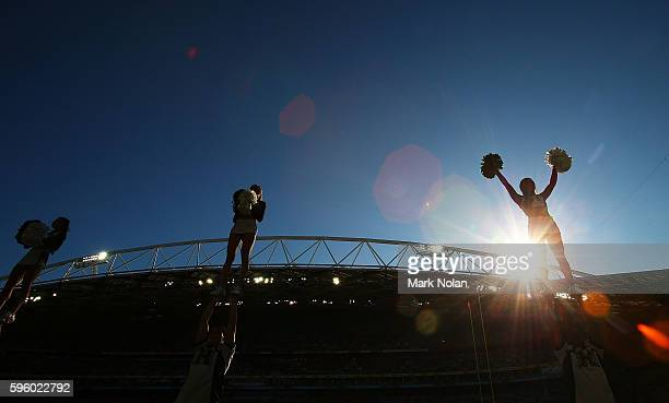 Cheergirls perform during the College Football Sydney Cup match between University of California and University of Hawaii at ANZ Stadium on August...