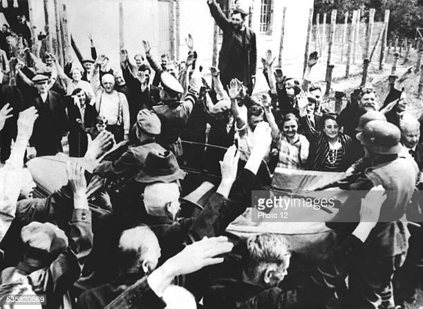 Cheering Alsatians welcoming German troops France World War II Washington National archives
