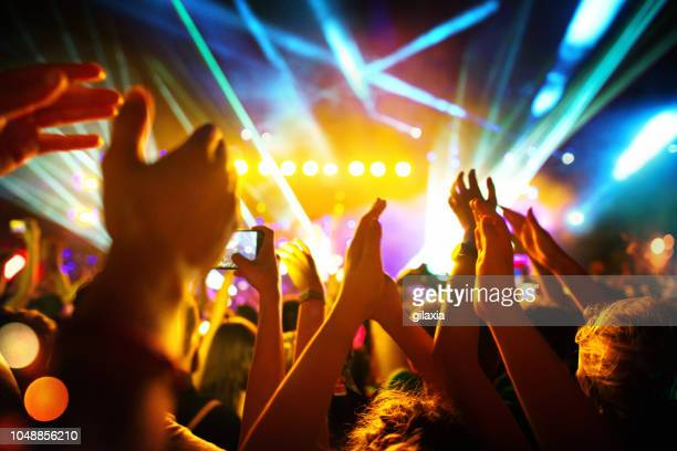 cheering crowd at a concert. - club dj stock pictures, royalty-free photos & images