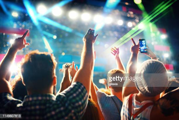 cheering crowd at a concert. - photo messaging stock pictures, royalty-free photos & images