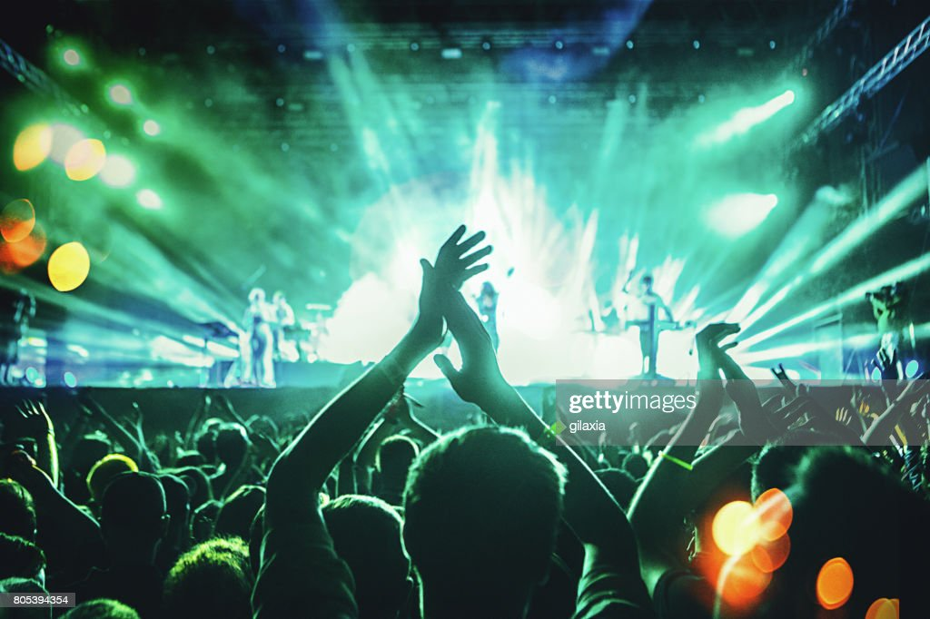 Cheering crowd at a concert. : Stock Photo