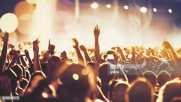 cheering crowd at a concert. - cheering stock pictures, royalty-free photos & images