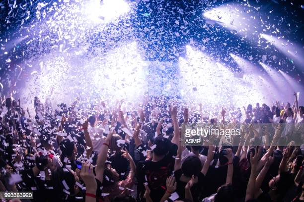 cheering crowd at a concert - dj stock pictures, royalty-free photos & images