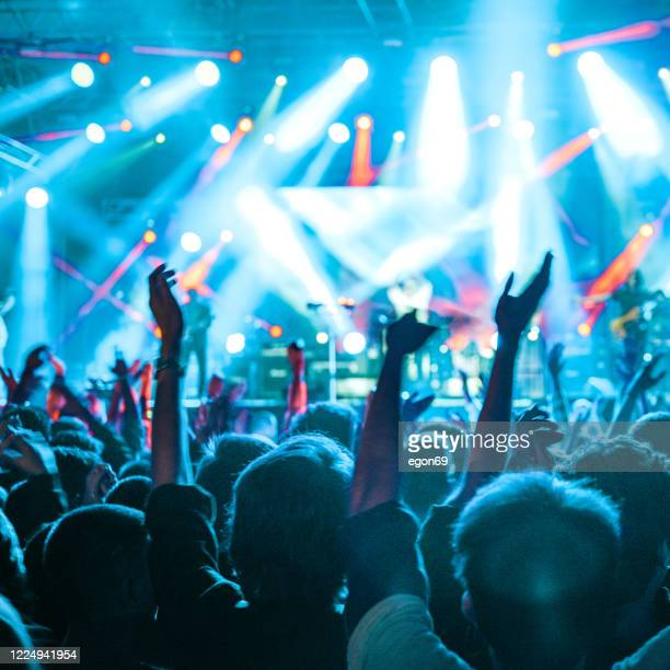 cheering crowd at rock concert - concert stock pictures, royalty-free photos & images