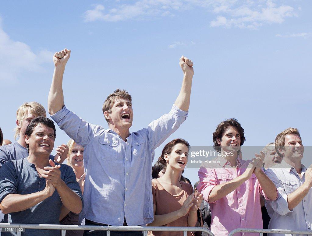 Cheering crowd : Stock Photo