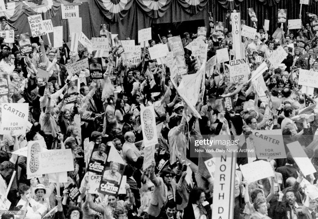 Cheering delegates at the Democratic National Convention. : News Photo