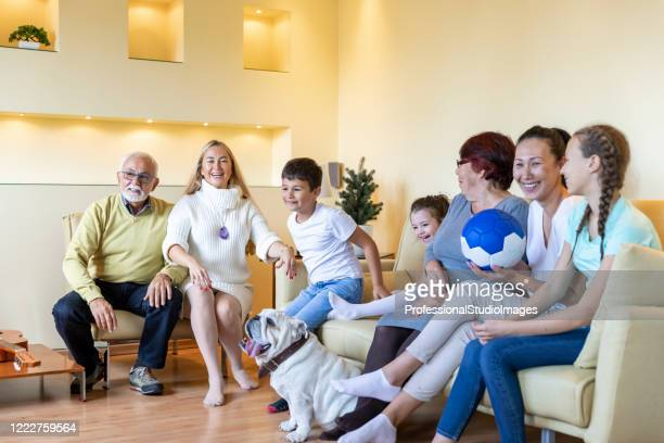 a cheering family people is watching a football game together on tv. - chinese bulldog stock pictures, royalty-free photos & images