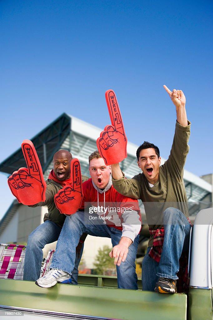 Cheering Football Fans : Foto de stock