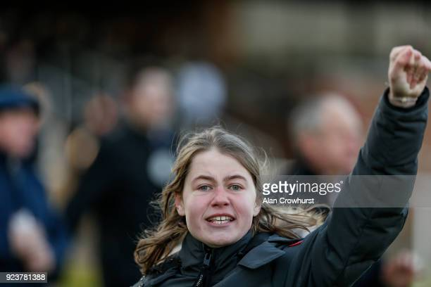 Cheering home a winner at Kempton Park racecourse on February 24 2018 in Sunbury England