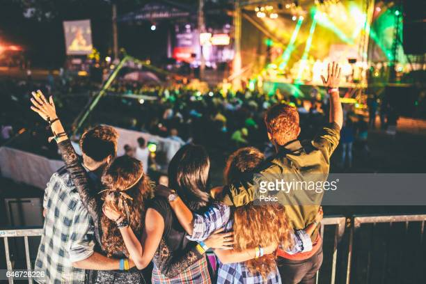 cheering on their favourite band - music festival stock pictures, royalty-free photos & images