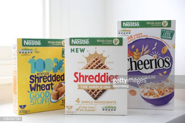 Cheerios, Shreddies and Shredded Wheat breakfast cereal boxes, manufactured by Nestle SA, arranged in London, U.K., on Monday, July 26, 2021. Nestle...