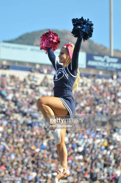 BYU cheerleader during a college football game between the Northern Illinois Huskies and the BYU Cougars on October 27 2018 at Lavell Edwards Stadium...