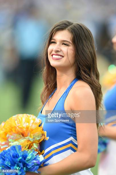 UCLA cheerleader during a college football game between the Texas AM Aggies and the UCLA Bruins on September 03 2017 at the Rose Bowl in Pasadena CA