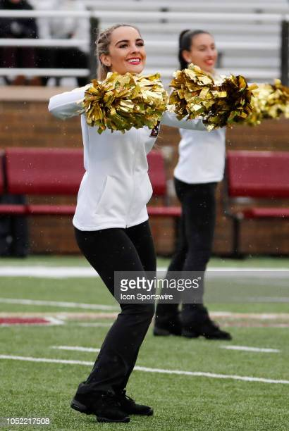BC cheerleader during a game between the Boston College Eagles and the Louisville Cardinals on October 13 at Alumni Stadium in Chestnut Hill...