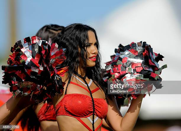 Cheerleader during a Semifinal match between The Trinidad and Tobago Red Steel and Jamaica Tallawahs as part of the Caribbean Premier League 2014 at...