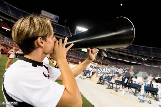 Cheerleader during the college football game between UC Davis Aggies and San Diego State University Aztecs on September 02 2017 at Qualcomm Stadium...