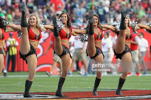 A cheerleader entertains the fans during the NFL Game between the Seattle Seahawks and Tampa Bay Buccaneers on November 27 at Raymond James Stadium...
