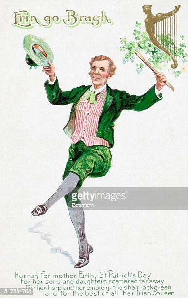 Cheerleader for St Patrick's Day Undated engraving The saying underneath 'Hurrah for mother Erin St Patrick's Day / For her sons and daughters...