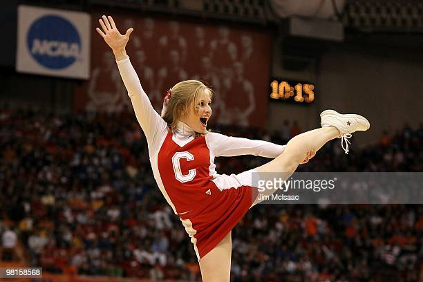 Cheerleader for the Cornell Big Red performs against the Kentucky Wildcats during the east regional semifinal of the 2010 NCAA men's basketball...