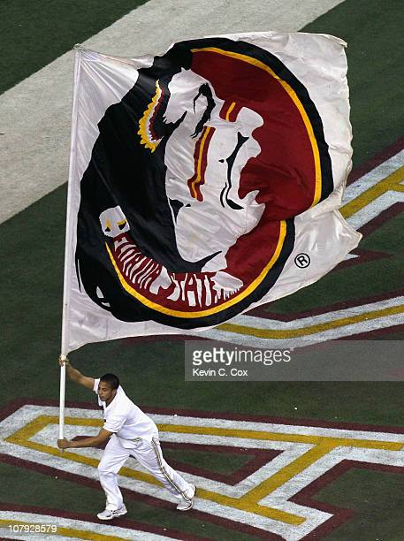 A cheerleader for the Florida State Seminoles against the South Carolina Gamecocks during the 2010 ChickfilA Bowl at Georgia Dome on December 31 2010...