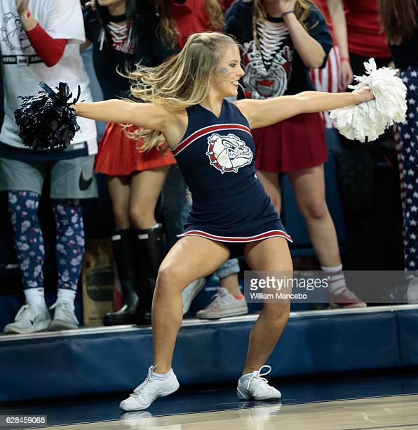 A cheerleader for the Gonzaga Bulldogs cheers for her team in the game against the Washington Huskies at McCarthey Athletic Center on December 7 2016...
