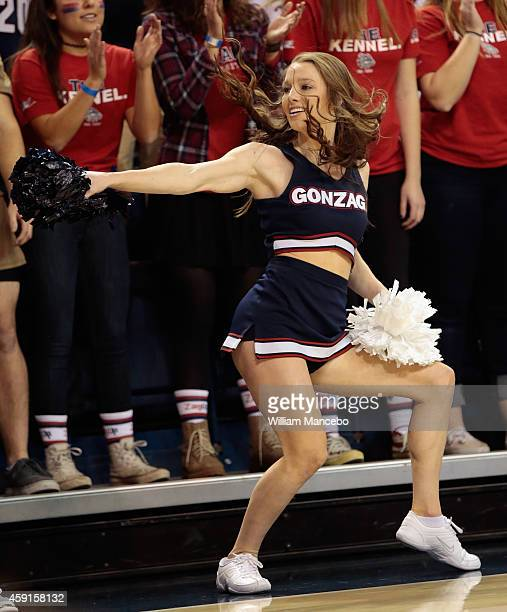 A cheerleader for the Gonzaga Bulldogs performs during the game against the SMU Mustangs at McCarthey Athletic Center on November 17 2014 in Spokane...