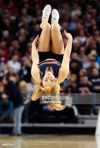 A cheerleader for the Gonzaga Bulldogs performs during the game against the Loyola Marymount Lions at McCarthey Athletic Center on February 12 2015...
