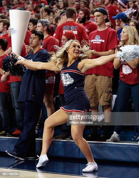 A cheerleader for the Gonzaga Bulldogs performs during the game against the UCLA Bruins at McCarthey Athletic Center on December 12 2015 in Spokane...